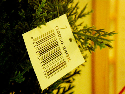 Fake tree with barcode